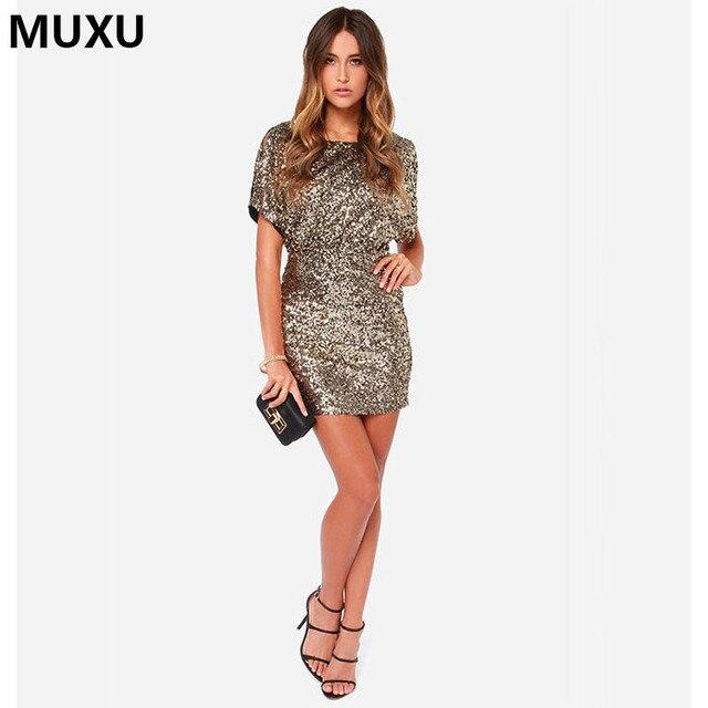 cd4d79ab164d MUXU abiti alla moda autunno donne sexy del vestito a maniche lunghe vestito  scintillio di paillettes