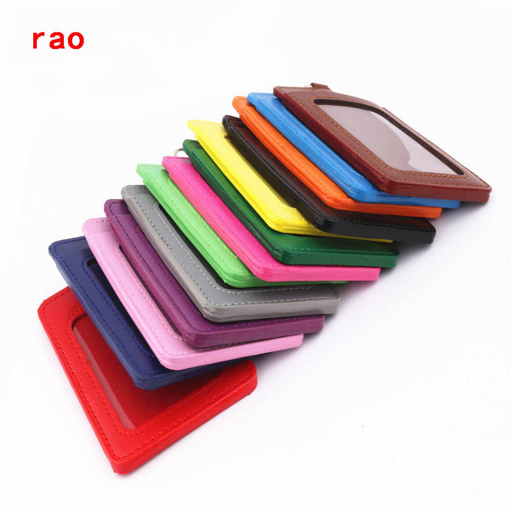 Luxury quality 610 PU Leather material double card sleeve sets ID Badge Case Clear Bank Credit Card Badge Holder Accessories