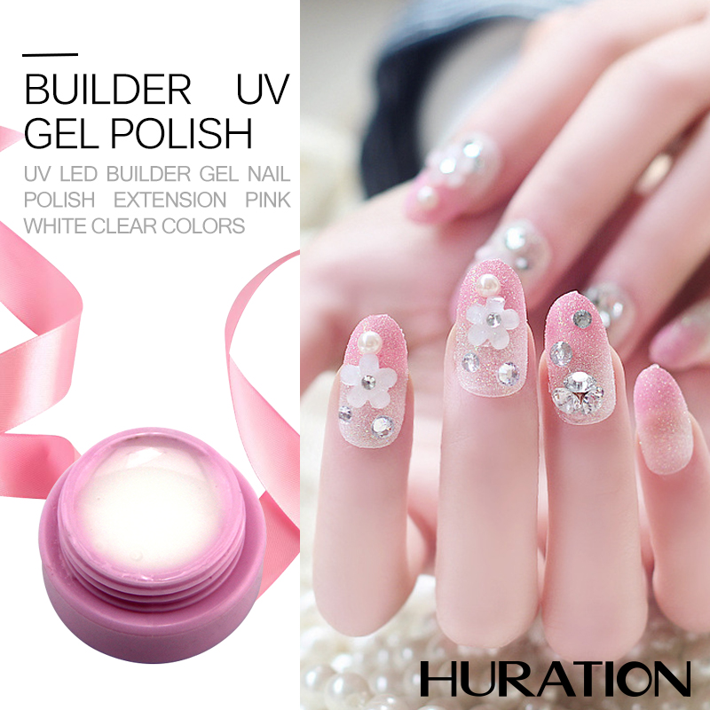Huration Transparent Pink White Clear UV Builder Hel Crystal Nail Gel Polish LED Art Tips Manicure Extension Varnish In From Beauty
