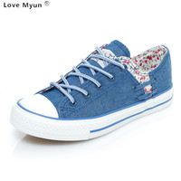 Women Canvas Shoes 2017 New Flat Denim Casual Shoes Shallow Mouth Floral Espadrilles High Quality Small