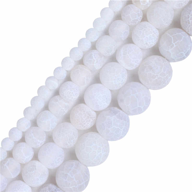 Piedra Natural blanca mate ónix Agat cornalina cuentas 4,6, 8,10, fabricación de joyas para mujeres Diy de 12mm