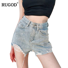 RUGOD 2018 New High Waist Straight Short Button Fly Ripped Vintage Panelled High Street Wo