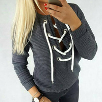 TAUPIN AM Lace Up Cotton Autumn Sweatshirt Women Pullover 2017 Casual Long Sleeve Sweatshirts Black Grey