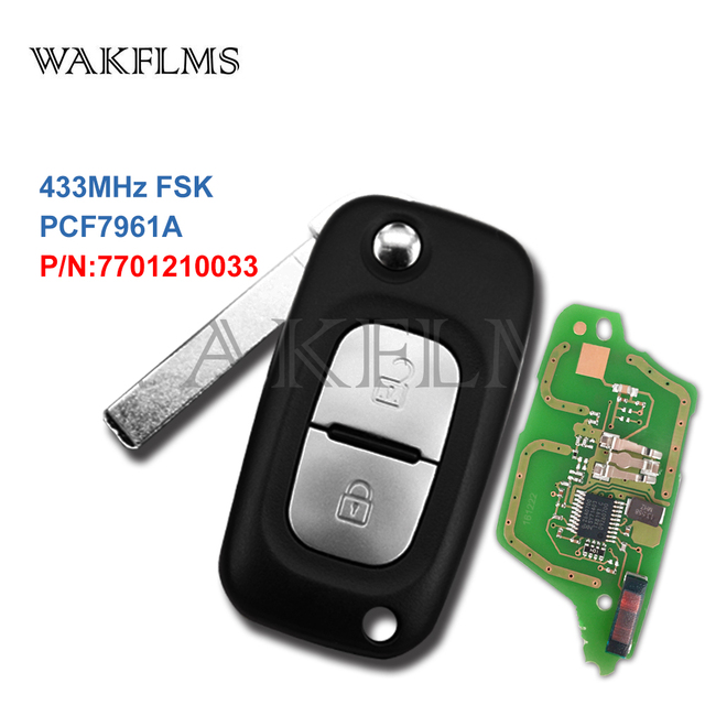 2 Buttons 433MHz PCF7961A ID46 Chip Flip Remote Key For Renault Clio III  Clio 3 Kangoo Master Modus Twingo 2006-2016 7701210033