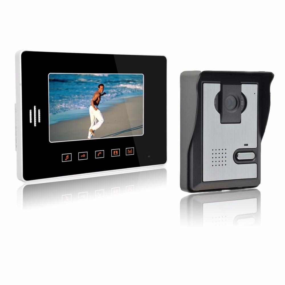 Sonnette vidéo interphone filaire anneau cloche 7 pouces écran tactile bouton sonnette caméra étanche système d'entrée de porte