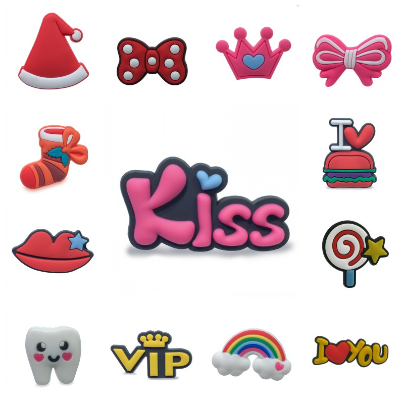 New 1pcs Sweet PVC Shoe Charms Crown Lips Kiss Rainbow Shoes Accessories Croc Charms JIBZ Shoe Decoration For Girls Kids Gift
