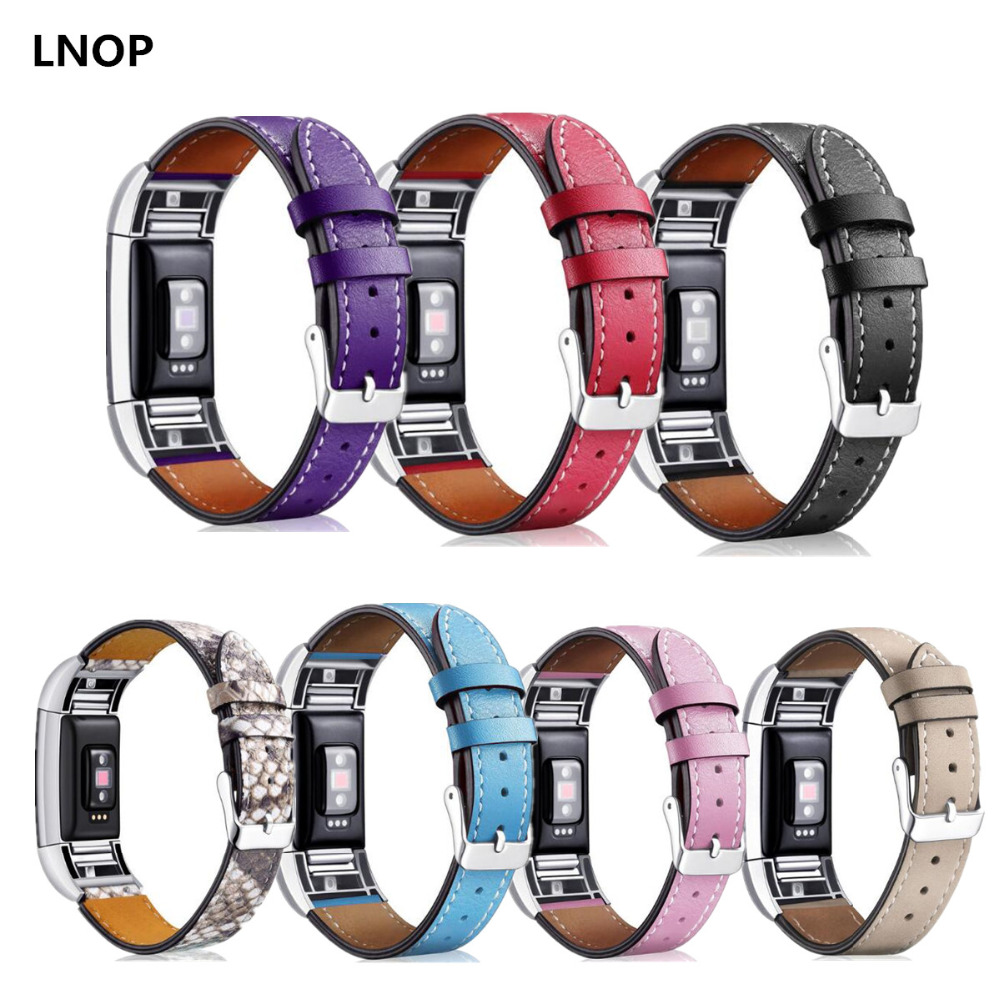 LNOP Leather Strap For Fitbit Charge 2 Band Leather Smart Watch Band For Charge2 Traker Replacement Fitness Watch Accessories