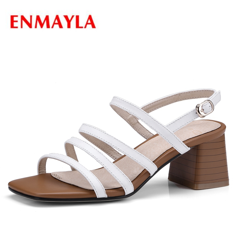 ENMAYLA New fashion  summer women square heel open toe buckle strap sandals lady casual ZYL430