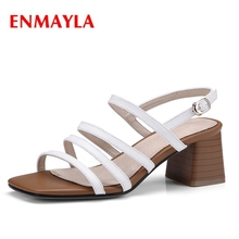 ENMAYLA New fashion  summer women square heel open toe buckle strap sandals lady casual sandals  ZYL430 egonery summer 2018 new flock cross strap lace up and zip med square cover heel solid concise fsahion casual women sandals