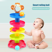 Baby & Toddler Toys Colorful Rolling Ball Bell Pile Tower Puzzle Kids Rattles Hobbies Children Gift