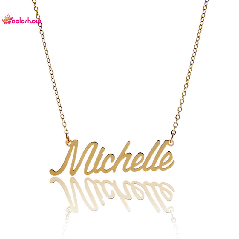 AOLOSHOW Women Necklace Name Letter  Michelle  Gold & Silver color Necklace 2016 Stainless Carrie Style Name Necklace NL-2380