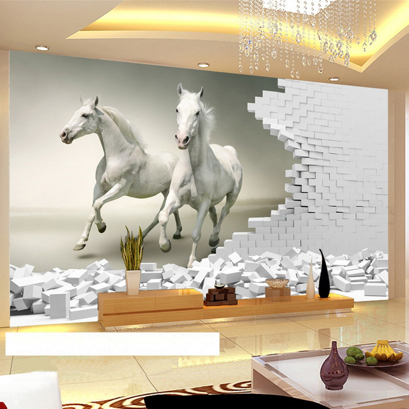 Custom 3D Wall Murals Wallpaper 3D Stereoscopic White Horse Brick Wall Art Mural Living Room Bedroom Background Papel De Parede