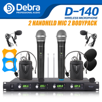 Top quality!!!Debra Audio D 140 4 Channel with 2Handheld and 2Lavalier & Headset Mic UHF Wireless Microphone System for karaoke