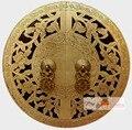 30 cm Grande Mobiliário Chinês Gabinete Face Plate Puxador Ferragem de Bronze Do Vintage botão De Cobre