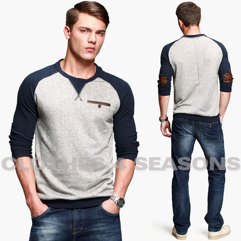 American Leisure Men Tee Shirt Thicken Autumn Wear T
