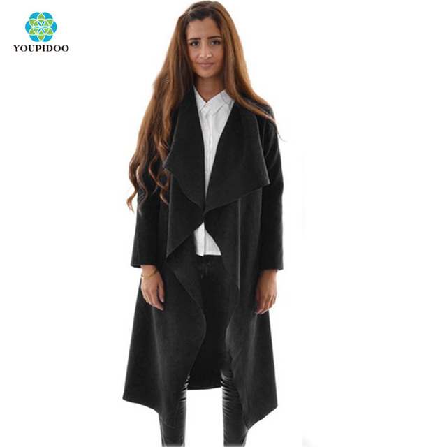 Women Long Sleeved Asymmetrical lady Trench Coat Loose Draped Open Front  Cape Cardigan Windbreaker cd85b8f01ef2