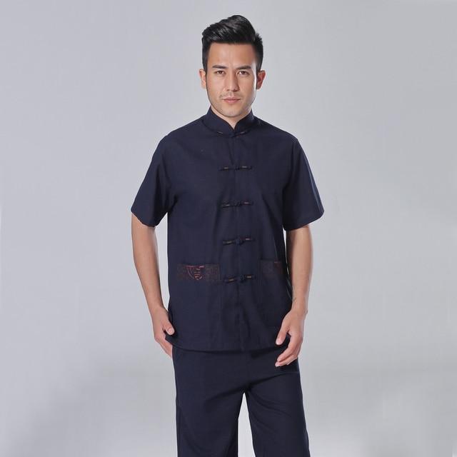 Chinese Men's Cotton Linen Tai Chi Shirt Summer Short Sleeve Kung Fu Shirt Vintage Embroidery Clothing S M L XL XXL XXXL AB002