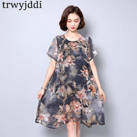 2019 Fashion Plus Size Women's Clothing Summer Dress New Middle Age Printing Loose Chiffon Dress Female A1001