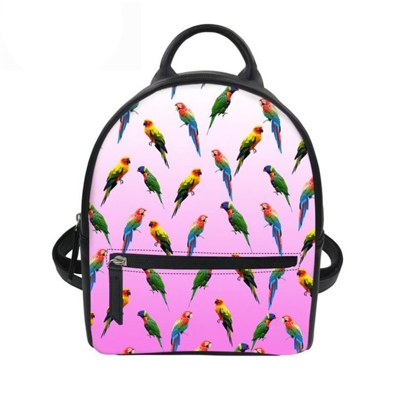 Feminine Backpack Small School Bag for Teenage Girls Mini Travel School Bagpack 3D Parrot Printing PU Leather Mochila New