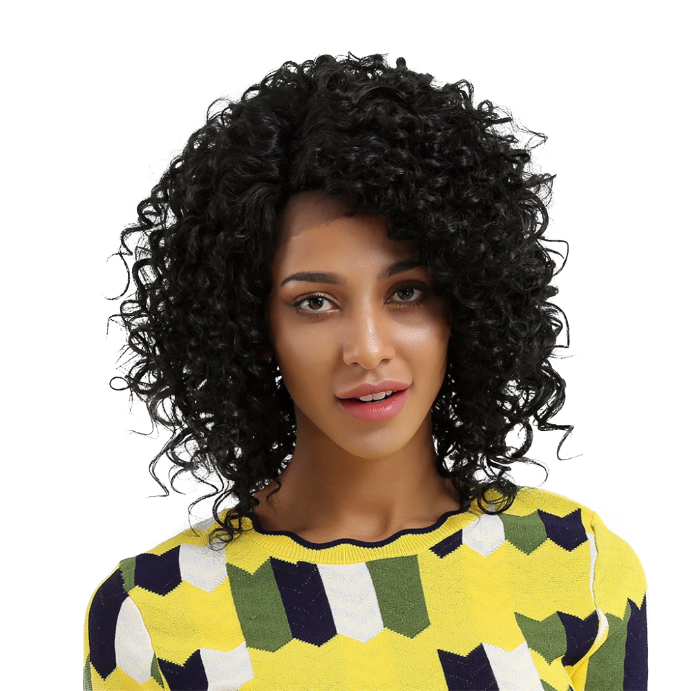 Element Glueless Side Part Kort Curly Afro L Parti Swiss Synthic Lace - Syntetiskt hår - Foto 1