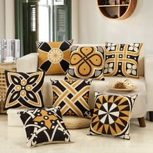 Black Glod Totems Cushion Covers Symmetrical Geometric Pattern Pillow 45*45cm Retro style Decorative Pillowcase
