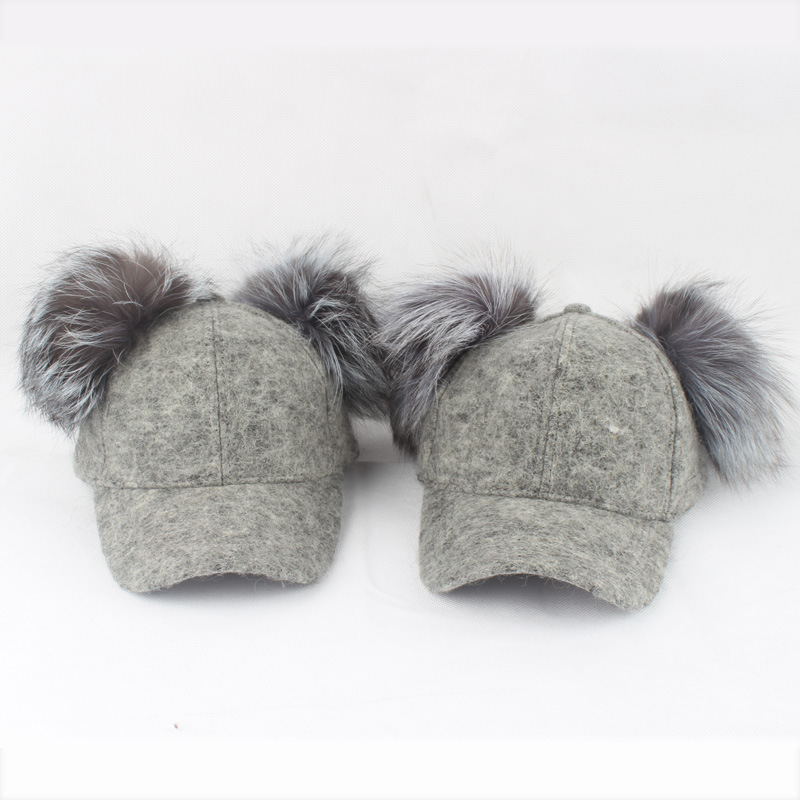 Real Silver Fox Fur Pompom Hat For Kids Women Cartoon Two Pom Poms Baseball Caps Brand Snapback Hip hop Hat Cap new star spring cotton baby hat for 6 months 2 years with fluffy raccoon fox fur pom poms touca kids caps for boys and girls