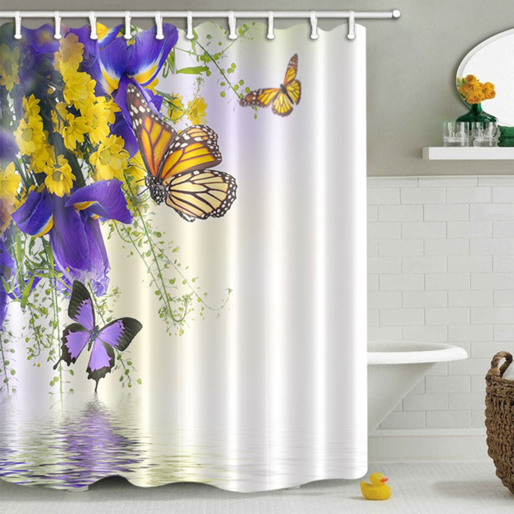purple butterfly yellow flower white shower curtain bathroom curtains floral waterproof polyester fabric for bathtub decor