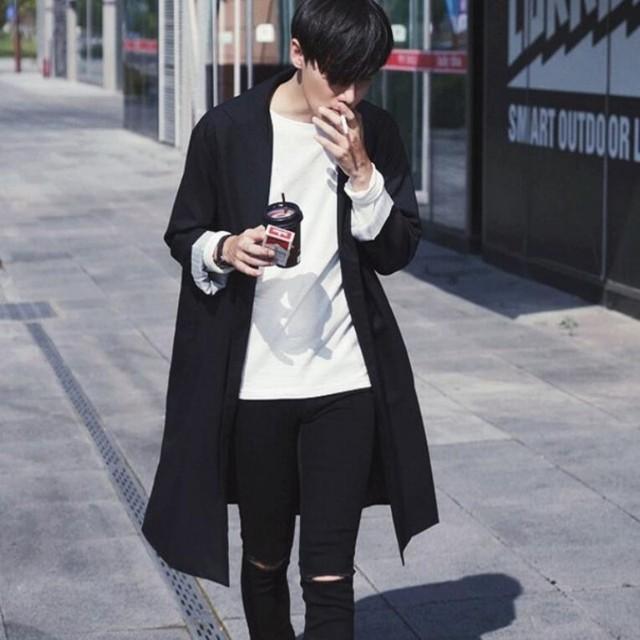 Outono Moda de Nova Mens Slim Fit Longo Coats Outwear Ocasional Algodão Trincheira Para Homens Preto Tamanho M-2xl Grátis grátis