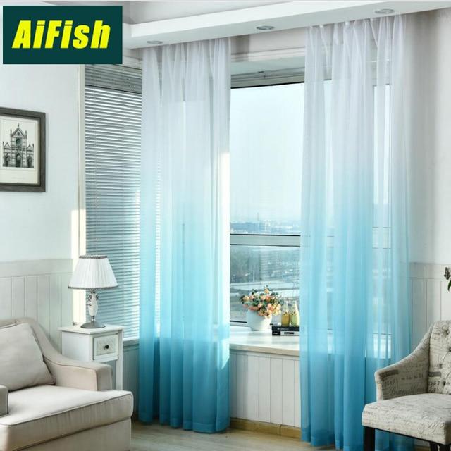 Comedor cortinas de tul degradado al aire libre pura gasa cortina ...