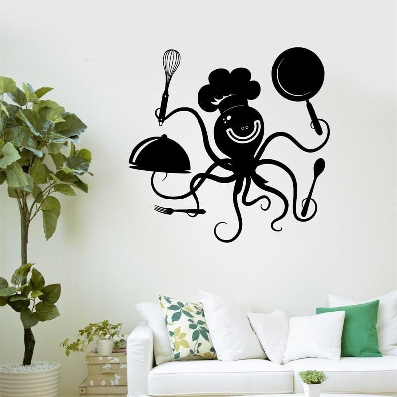 Decalcomania della parete positivo octopus chef cucina ristorante adesivi in vinile