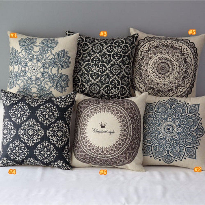Vintage floral cotton linen throw pillow case cover bed for Decorative bed pillow case