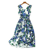 women summer clothes tropical dress fancy style wholesale women's clothing print Women's Dresses v neck sleeveless midi dress