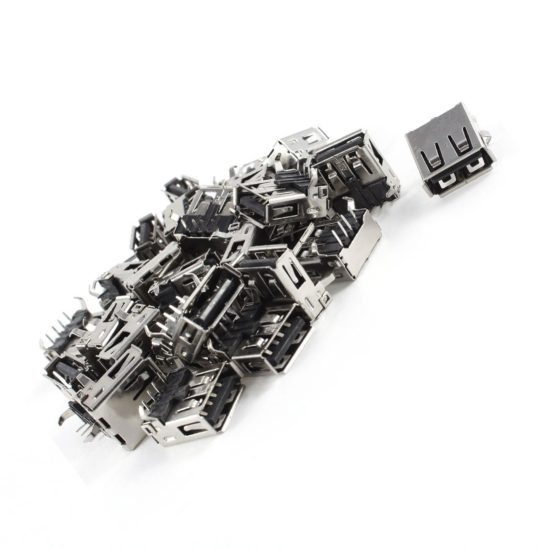 CES Hot 30 Pcs 15mm USB 2.0 Female Type A Port 4-Pin DIP 90 Degree Jack Socket Black+Silver