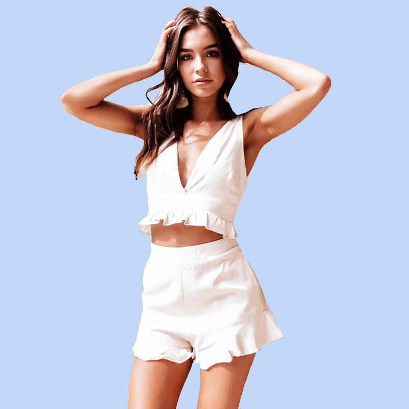 White 2 Piece Outfits for Women Fashion Co-ord Set Short Crop Top and Pant Suits 2019 Summer Matching Sets Festival Clothing