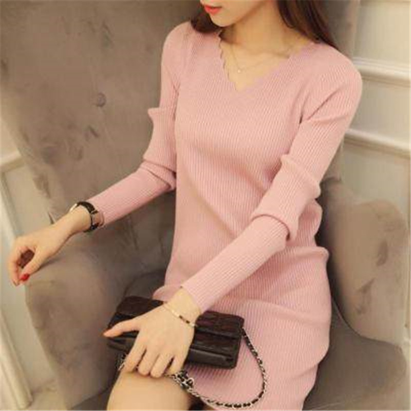 36d2bf16d75 Women Sexy Sweater Dress Autumn Winter Fashion V Neck Bodycon Basic Mini Solid  Color Knitted Dress Pullover Maxi Dress ZY2781