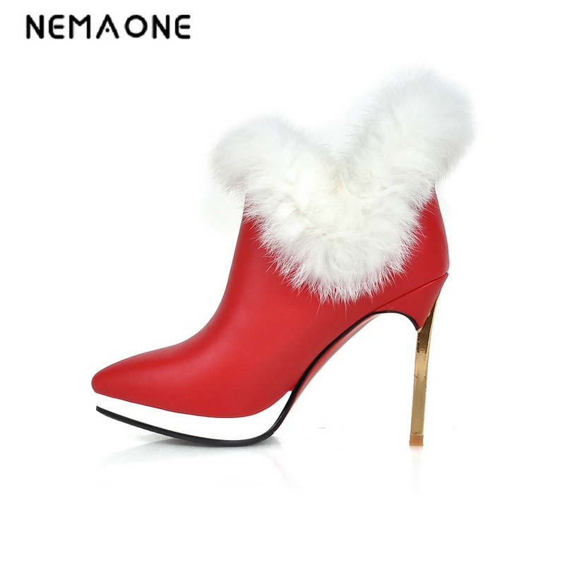 NEMAONE New arrive sexy women shoes fashion pointed toe stiletto high heels pu leather ankle boots autumn boots