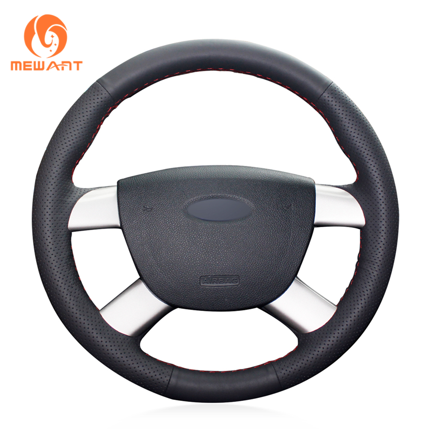 MEWANT Black Genuine Leather Car Steering Wheel Cover for Ford Kuga 2008-2011 Focus 2 2005-2011 C-MAX 2007-2010 car styling cowl leather steering wheel cover for lexus nx200t nx300h is250 ct200h is200t