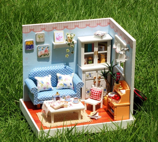DIY Wooden Dollhouse Miniature Kit --Living room coner with furniture /English instruction
