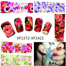 50Sheets Nail Art Flower Water Tranfer Sticker Nails Beauty Wraps Foil Polish Decals Temporary Tattoos Watermark XF1372-1421