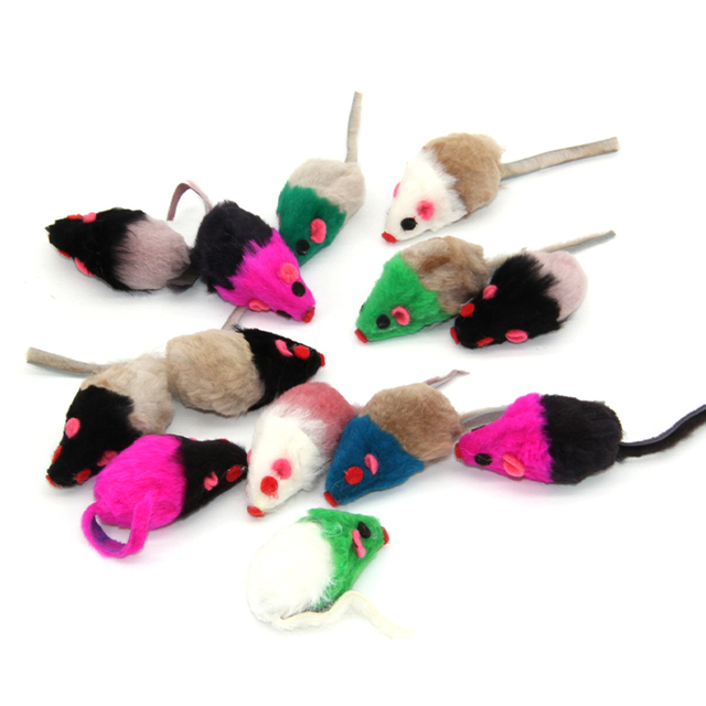 Westrice Cat Toy 3cm Colorful Color PetCheap Mini Funny Playing Toys for Cats Kitten Real Fur Cat Short-haired Mouse 60 Cat Toy