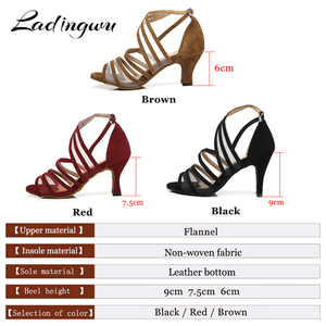 Image 2 - Ladingwu Women Dance Shoes Latin Flannel and Mesh Salsa Dance Shoes Red Brown Black Sneakers Dance Shoes Ballroom Heel 9cm