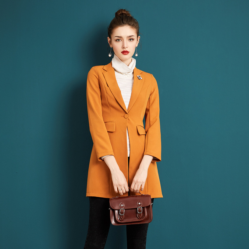Blazer Women Autumn Winter Coat England Style Slim Fashion Turndown Collar Single Button ...