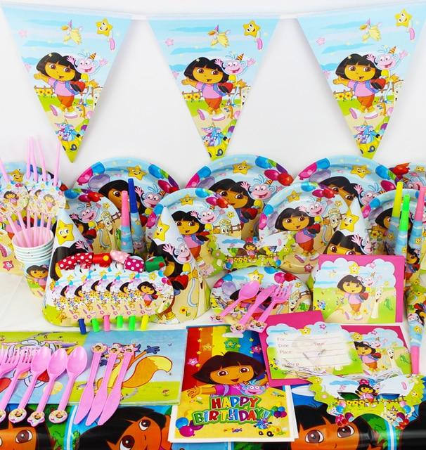 116pcs Dora New Kids Birthday Party Decoration Set Birthday Dora