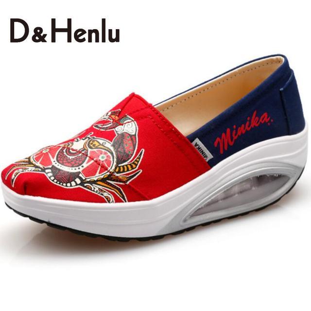 {D&H}Air Cushion Soles Mixed Colors Swing Wedges Casual Shoes Women Platform Lady's Canvas Shoes Women's Vulcanize Shoes