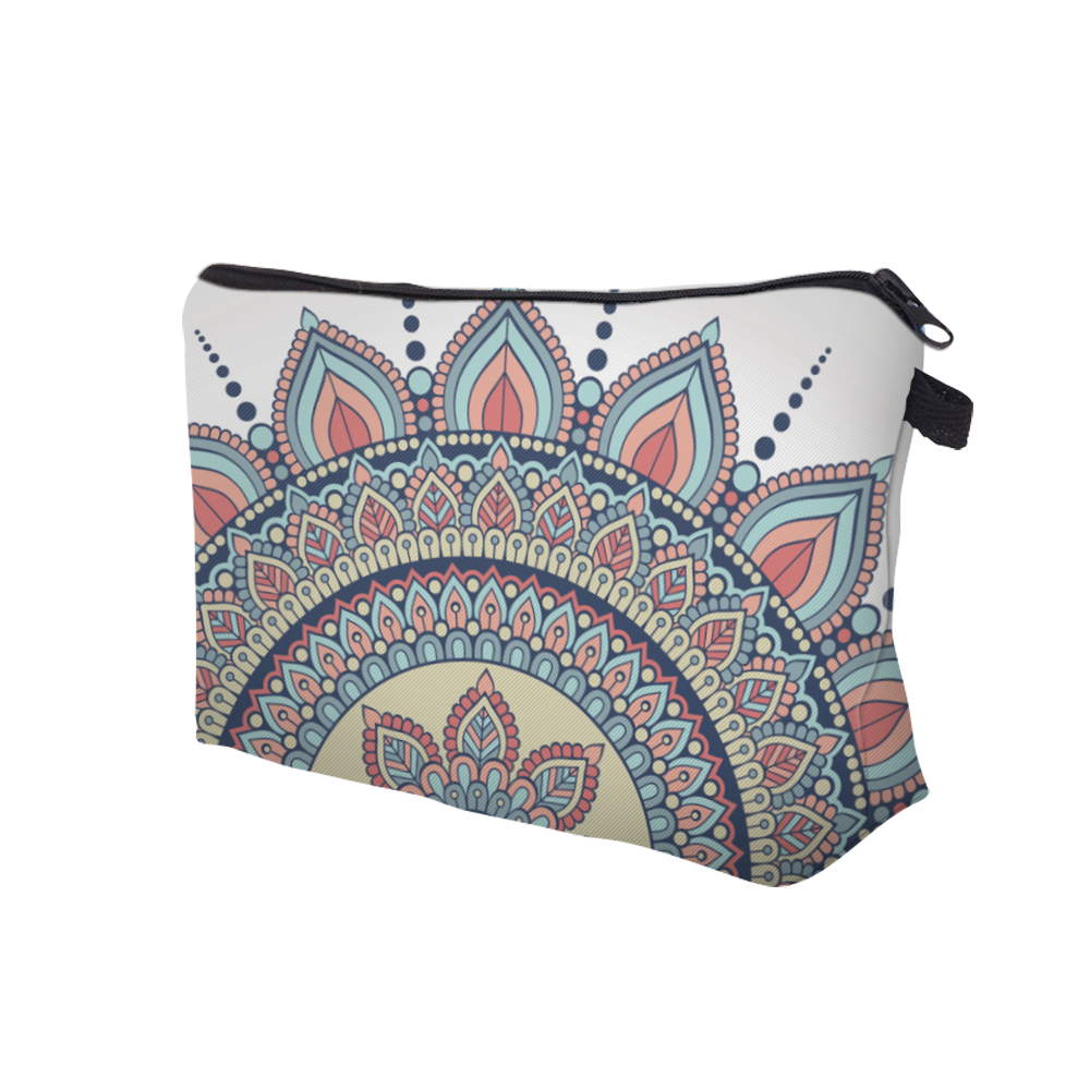 White Floral Cosmetic Toiletry Make -Up Bag
