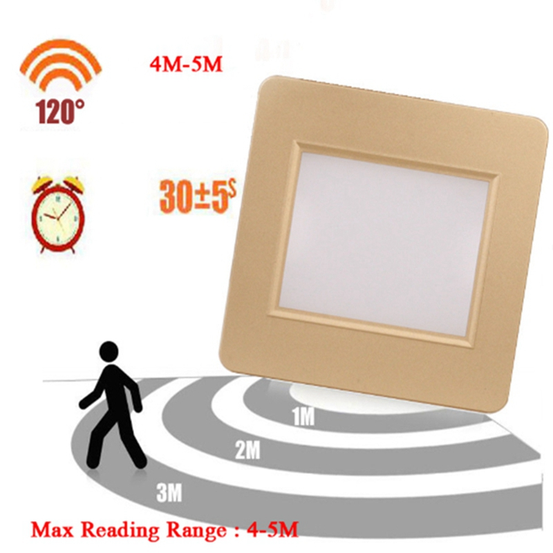 Kingoffer 10PCS/Lot 2W Square Radar Sensor LED Stair Light 85V 265V Recessed PIR Light Sensor Passway Step Footlight With 86 Box