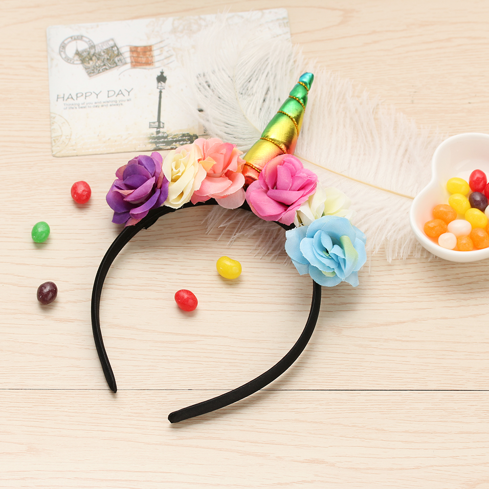 1 PC Unicorn Horn Girls Hairband Kids Rainbow Flower unicorn Hairband for Xmas Party Gift Hair Accessories 8x sliver copper alloy french horn mouthpiece for conn king french horn
