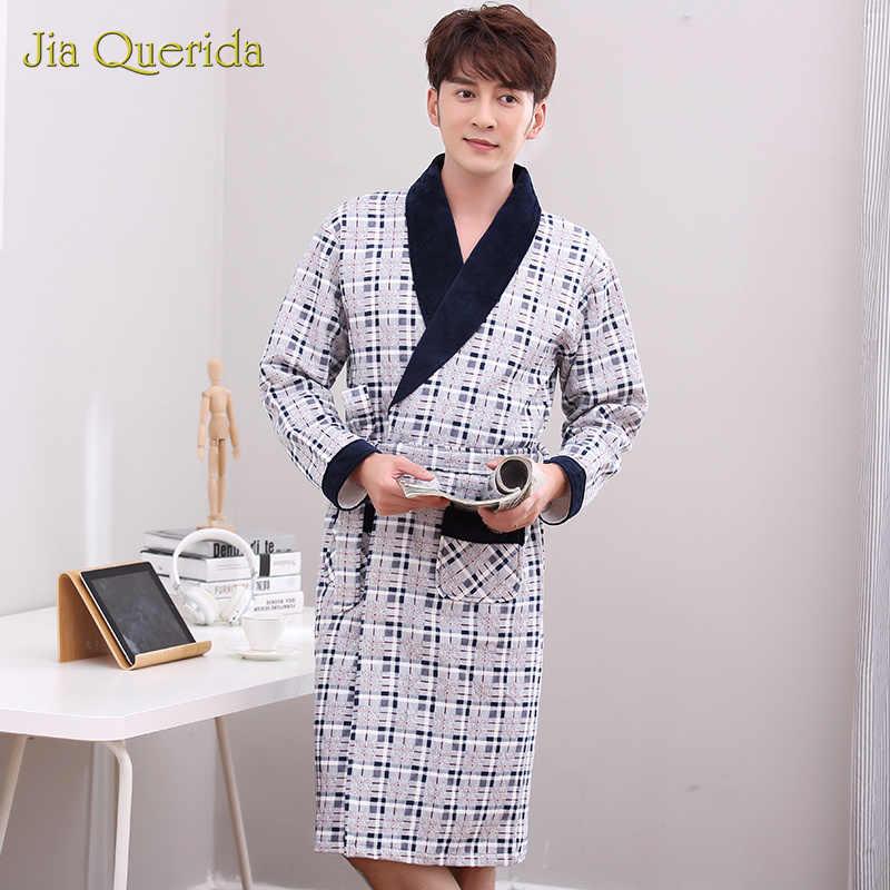Кимоно хлопок пеньюар мужской Bata Hombre кимоно юката для мужчин хорошее качество Плед Хлопок Домашняя одежда халат теплые мужские халаты зима