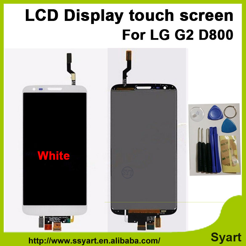 ФОТО Black and White OEM LCD Without Frame For LG G2 D800 lcd display +touch screen digitizer assembly with tools free shipping