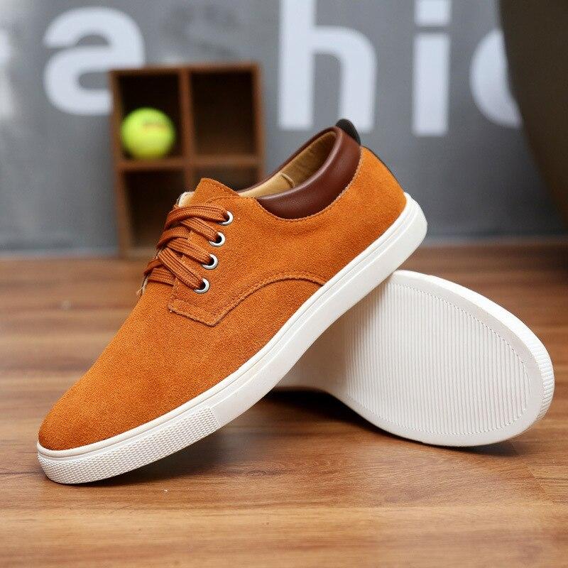 2018 Nouvelle Mode En Daim Hommes Appartements Chaussures Toile Chaussures Hommes En Cuir Décontractée Respirant Chaussures à Lacets Appartements Grande Taille 38-49 Bateau libre